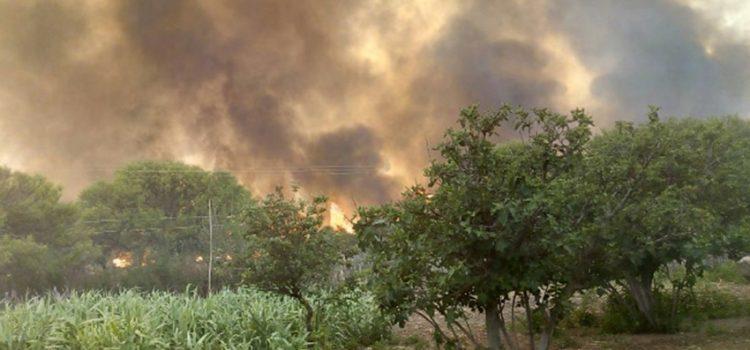 Un frente de fuego de 15 kilómetros se mantenía activo en Guasapampa, en Traslasierra